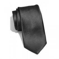Gravata Lisa preta com bordado em branco