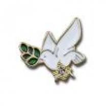 Pin Pomba com ramo de acácia e esquadro